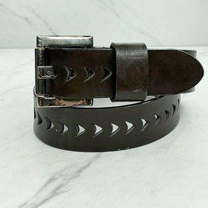 LEI Vintage Laser Cut Brown Genuine Leather Belt